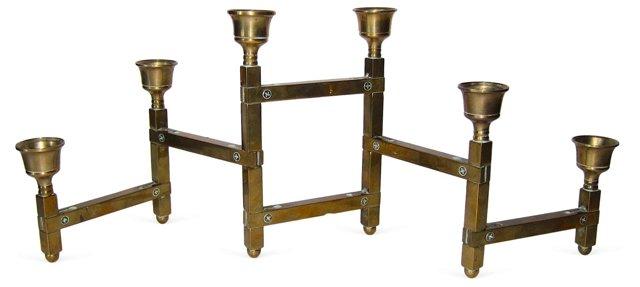 Articulated Modular Brass Candelabrum